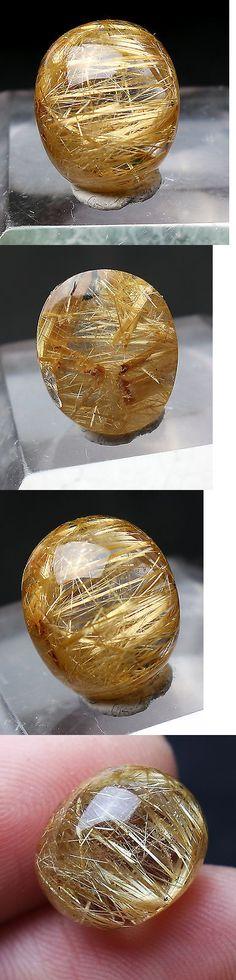 Rutilated Quartz 181099: 9.5Ct Golden Rutilated Clear Quartz Loose Cabachon 0.55X0.43X0.31 Brazil BUY IT NOW ONLY: $31.95