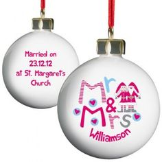 Personalised Christmas Bauble - Mr and Mrs