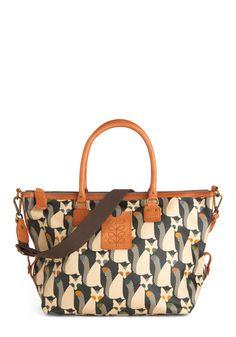 Orla Kiely The Fox of Life Bag by Orla Kiely - Multi, Yellow, Green, Blue, Tan / Cream, Grey, Print with Animals, Casual