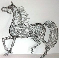 prancing arabian horse wire sculpture by wire sculptor elizabeth berrien