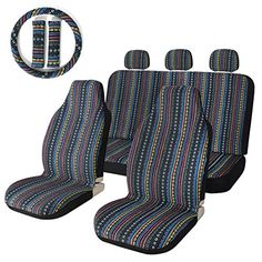 Stripe Colorful Seat Cover Baja Blue Saddle Blanket Weave Universal Bucket Seat Cover with Steering Wheel Cover Front & Rear Vehicles Parts Vehicle Parts Accessories Motor Vehicle Care Vehicle Decor Car Covers Custom Seat Covers, Truck Seat Covers, Bench Seat Covers, Car Seat Cover Sets, Car Covers, Car Seats, Hippie Auto, Hippie Car, Bucket Seat Covers