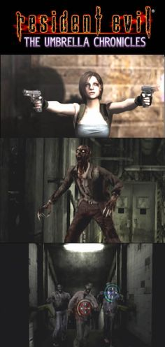Umbrella Chronicles lets you play Resident Evil 0 and Resident Evil 3 in an arcade rail shooter style. Zombie Video Games, Evil Games, Leon S Kennedy, Resident Evil Game, Jill Valentine, Game R, Mega Man, Best Games, Video Game Console