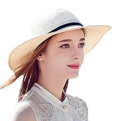 Elegant 2017 Summer Large Brim Beach Hats For Women With Belt Decoration  Beach White Floppy Sun Hat e16c9a73f515