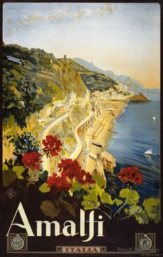 Amalfi, Italia travel poster showing a beautiful coastline of Amalfi. Illustration created by Mario Borgoni in the 1910's as a color lithograph at 103x64 cm.åÊPublished inåÊMÌ_nchen : Hermann Sonntag