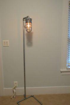 Tall industrial floor lamp, loft light, Industrial lamp on Etsy, $225.00