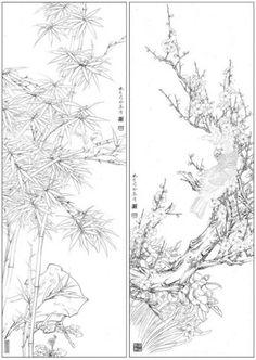 목단외 백묘 : 네이버 블로그 Korean Painting, Chinese Painting, Space Drawings, Art Drawings, Brush Strokes Painting, Ink Painting, Simple Line Drawings, Chinese Embroidery, Tibetan Art