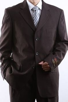 MEN'S SINGLE BREASTED 3 BUTTON BROWN DRESS SUIT SIZE 38R PL-60513-BRO