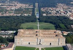 "from ""Reggia di Caserta"" official website of the Sopraintendenza per i beni architettonici Caserta & Benevento.  The Royal Palace from the top of the park mountain"