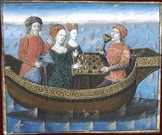 Tristan et Yseut buvant le philtre d'amour.   Tristan de Léonois. XVe siècle. (Messire Lancelot du Lac, de Gaultier de Moap, 1470) BNF, Manuscrits (Fr. 112 fol. 239)