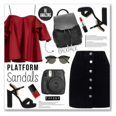 """Platform Sandals"" by cowseatchard ❤ liked on Polyvore featuring Anna October, Miss Selfridge, Topshop, rag & bone, Ray-Ban, Fujifilm, NARS Cosmetics and MAC Cosmetics"