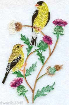 Seasonal Birds - SPRING GOLDFINCHES - 2 EMBROIDERED HAND TOWELS by Susan