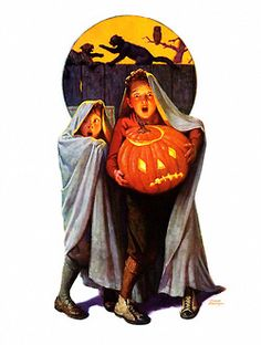 Halloween Scare, art by Frederic Stanley. Detail from Saturday Evening Post cover November 2, 1935.