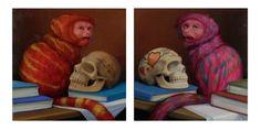 "Laurie Hogin, BIKERS - PRAYER I & II, Oil on Panel, 6.25 x 6.25"" each, Tory Folliard Gallery"