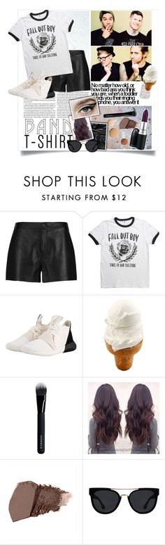 """""""Band T-Shirt: Fall Out Boy"""" by peppermint-candy ❤ liked on Polyvore featuring J Brand, adidas Originals, Lumière, MAC Cosmetics, Givenchy, Quay, bandtshirt and bandtee"""