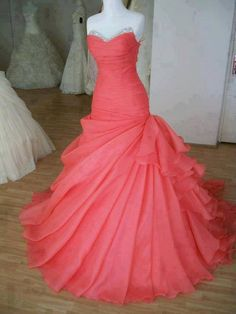 Beautiful coral prom dress