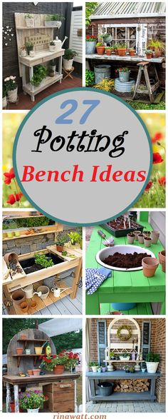 27 Fresh Potting Bench Ideas to Pretty Up Your Exterior Whitewashed Picket F. - 27 Fresh Potting Bench Ideas to Pretty Up Your Exterior Whitewashed Picket Fence Backing Board - Diy Garden, Garden Table, Garden Pots, Upcycled Garden, Garden Benches, Outdoor Potting Bench, Potting Tables, Indoor Outdoor, Outdoor Gardens
