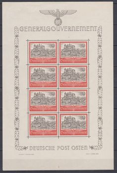Catawiki online auction house: Generalgouverment 1943/44 and Dachau Concentration camp - Miniature sheets
