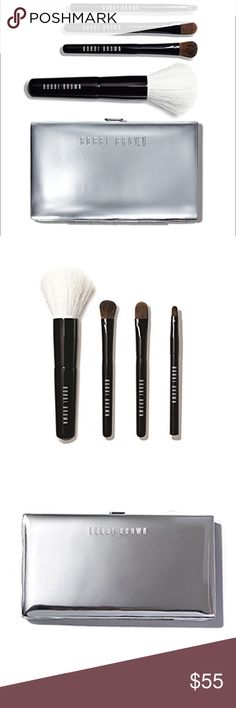 Bobbi Brown Mini Brush 4 Pcs Set W/ Silver Case. Bobbi Brown Mini Brush 4 Pcs Set W/ Silver Carrying Case.An essential accessory for the holiday rush, this palm-sized set has all the brushes you need to apply your makeup quickly and easily, wherever you are: Face Blender, Cream Shadow, Eye Shadow and Ultra Fine Eye Liner Brushes. Comes in a chic, silver carrying case you'll love to show off. Bobbi Brown Makeup Brushes & Tools