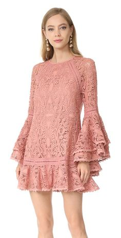 veronique dress by Alexis. Exclusive to Shopbop. A romantic lace Alexis mini dress in an intricate swirl pattern. The sheer bell sleeves are finished with dramatic, layered cuffs. Flounced hem. Hidden back zip. Tonal lining. Fabric: Guipure lace. Shell: 100% polye... #alexis #dresses