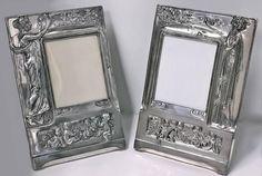 Pair of Art Nouveau Large Silver Plate Photograph Frames, Germany, circa 1900 Art Nouveau, Antique Frames, Plate Art, Diamonds And Gold, Decorative Objects, Picture Frames, Silver Plate, Germany, Arts And Crafts