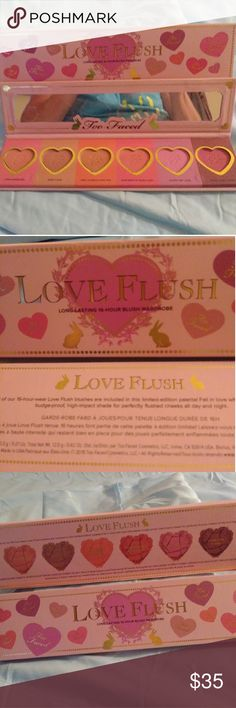 ❤TOO-FACED LOVE FLUSH BLUSH PALETTE❤ BNIB. Awesome Too-Faced LOVE FLUSH Blush Paletter with 6 beautiful colors outlined in box with adorable hearts. This is my absolute FAV but I ended up with 3 when I put in on my wish lists.  COLORS:  💜LOVE HANGOVER 💗BABY LOVE ❤I WILL ALWAYS LOVE YOU 💙HOW DEEP IS YOUR LOVE 💛JUSTIFY MY LOVE 💘YOUR LOVE IS KING  BUY ONE FOR $35 OR 2 FOR $50 ONLY 2 KITS AVAILABLE!!! Too Faced Makeup Blush