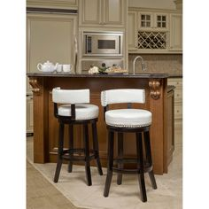 Nia White Swivel Barstool 2-pack