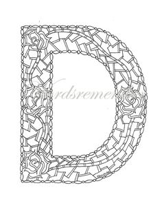 Adult Coloring Pages Letter D Coloring Page by wordsremember Coloring Letters, Alphabet Coloring Pages, Free Printable Coloring Pages, Coloring Pages For Kids, Free Printable Numbers, Free Printables, Halloween Coloring Pages, Letter D, Handmade Gifts