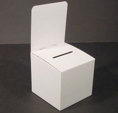 10-1/8 x 20 x 10-1/4-Inch White Cardboard Suggestion Box With Removable Header