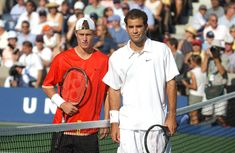 Lleyton Hewitt of Australia and Pete Sampras pose at the net before taking the court for the men's final of the US Open at the USTA National Tennis Center in Flushing, New York. Australian Tennis, Lleyton Hewitt, Tennis Legends, Tennis Center, Famous Names, Single Player, Tennis Players, Cheerleading, The Man