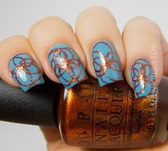 Free Hand Circle Nail Art With OPI Euro Centrale - manicurator