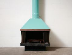 MALM Mid-Century Turquoise Enameled Fireplace