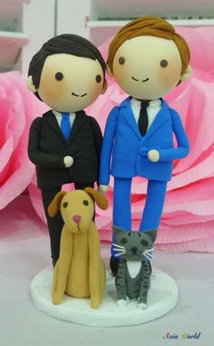 Gay Wedding Cake topper with dog and cat clay by AsiaWorld on Etsy