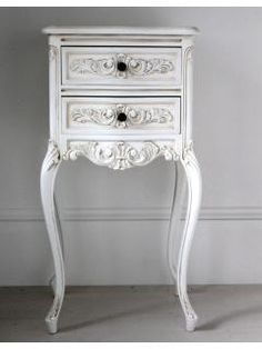 "Tall White Bedside Cabinet ""Renee"""