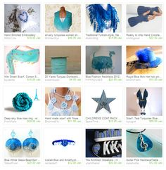 Great blue items. just click to see large image Handmade Scarves, Gift Wrapping, Spaces, Crochet, Fabric, Gifts, Blue, Image, Color