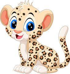 Cute baby leopard ca Cartoon Baby Animals, Cartoon Faces, Cartoon Kids, Cartoon Drawings, Animal Drawings, Cute Cartoon, Jungle Animals, Cute Animals, Cheetah Cartoon
