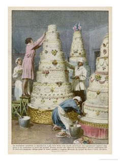 New Cake Illustration Pictures Ideas Wedding Cake Illustrations, Food Illustrations, Illustration Pictures, Retro Recipes, Vintage Recipes, English Wedding Cakes, Vintage Posters, Vintage Art, Vintage Images