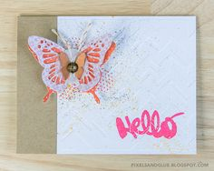 Fall Butterfly   Hello Card by @pixnglue #happyscrappyfriends