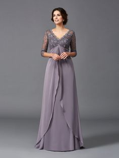 A-Line / Princess V-neck Sleeves Long Chiffon Mother of the Bride Dress - Wedding dress Mob Dresses, Tea Length Dresses, Plus Size Dresses, Dresses With Sleeves, Halter Dresses, Chiffon Dresses, Dresses Online, Chiffon Skirt, Short Sleeves