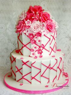 Contemporary hot pink cake