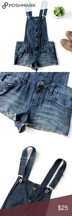 """I LOVE H81 Cutoff Denim Button Down Overalls - 25 Cutoff shorts denim overalls/jumpsuit that buttons down the front. The shorts are intentionally frayed where they are cutoff. These are perfect for festivals like Coachella, or the beach for a boho look..  Perfect condition, no flaws or signs of wear.  15.5"""" across the waist. 1.5"""" inseam. 27"""" length (adjustable).   Offers welcome  180120 I LOVE H81 Jeans Overalls"""