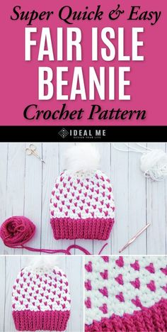 Super Quick Fair Isle Crochet Beanie - This amazing fair isle crochet pattern involves creating colored designs and shapes in the background of the project.