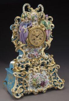 "French ""Jacob Petit"" cased porcelain mantel clock : Lot 170"