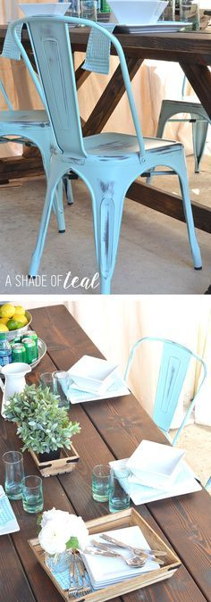 Finding the Perfect Chairs for a Rustic Farmhouse Table. Outdoor table decor | A Shade Of Teal