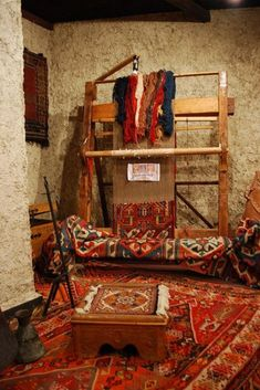 Loom with antique traditional tribal rugs, Museum of Folk Art, Yerevan, Armenia. Persian Carpet, Persian Rug, Armenian Culture, Interior Rugs, Carpet Colors, Tribal Rug, Carpet Runner, Oriental Rug, Loom