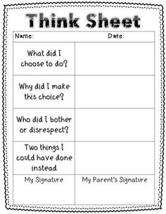 THINK SHEET - CLASSROOM MANAGEMENT {FREEBIE} - TeachersPayTeachers.com