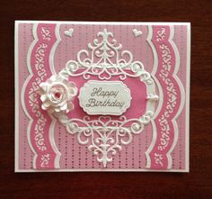 This is a card I made for my mother-in-law's 90th birthday using Spellbinders dies