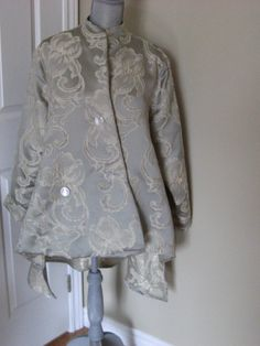 Whimsical brocade sea green cream embossed scrolls Victorian jacket by DATChameleon on Etsy Victorian Coat, Swing Coats, Green Cream, Whimsical, Ruffle Blouse, Tapestry, Sea, Jackets, Etsy