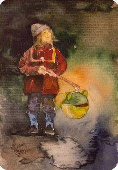 Auf den Spuren von Rudolf Bartels und seinen Laternenkindern | Kommt, wir woll'n Laterne laufen (c) Miniatur in Aquarell von Frank Koebsch