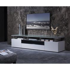 Bradner TV Stand for TVs up to by Wade Logan – FurnitureFlix Tv Unit Design, Tv Wall Design, Ikea Tv Wall Unit, Living Room Tv Unit, Tv Wall Decor, Cool Tv Stands, Tv In Bedroom, Man Cave Home Bar, Bars For Home