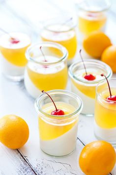 Layered Sparkling Meyer Lemon & Passionfruit Panna Cotta.  Such an easy and delicious recipe.